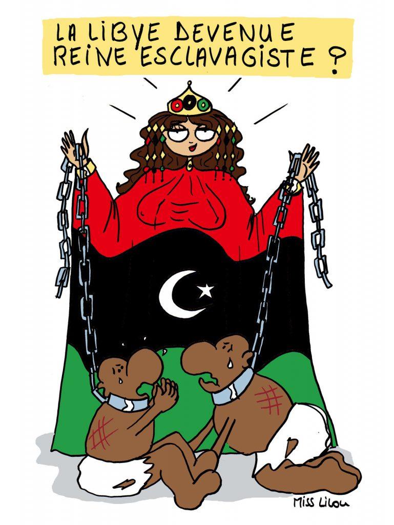 dessin d'actualité humoristique sur le rapport dénonçant l'augmentation du trafic d'êtres humains en Libye