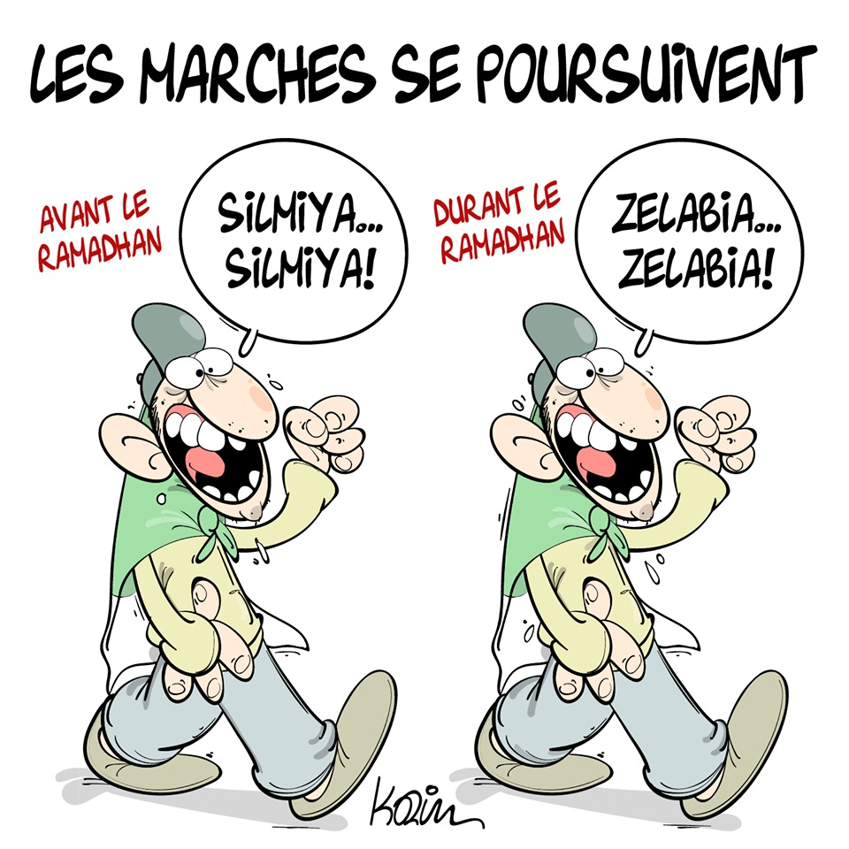 dessin d'actualité humoristique sur les marches algériennes pendant le Ramadan