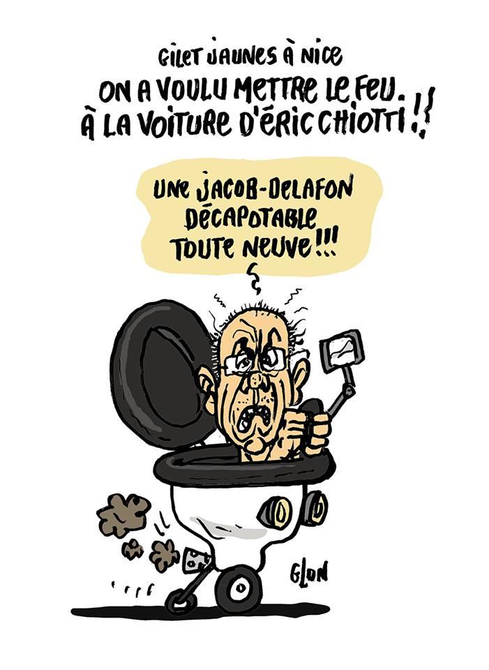 dessin d'actualité humoristique sur la tentative d'incendier la voiture d'Éric Ciotti pendant l'acte XXVI du mouvement des gilets jaunes