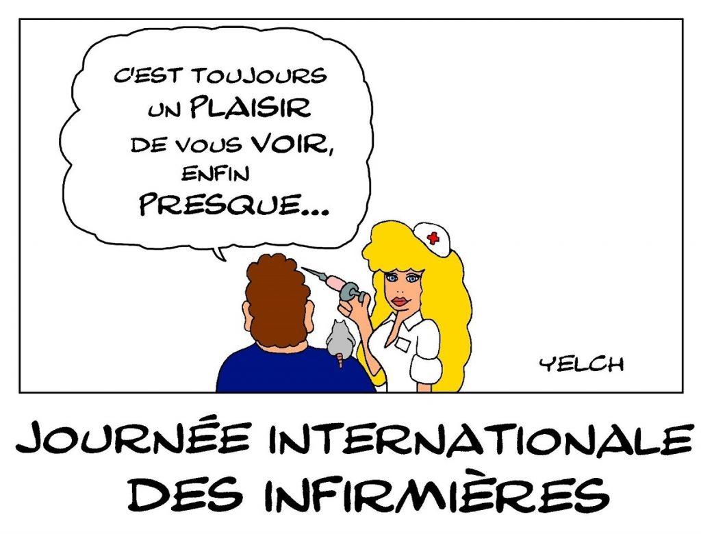 dessin de Yelch sur la journée internationale des infirmières le 12 mai