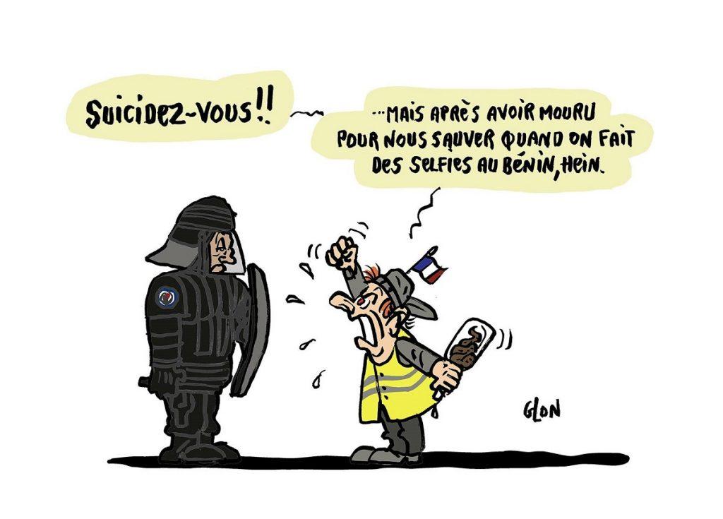 dessin d'actualité humoristique sur la libération des otages au Burkina Faso et la mort de deux militaires français