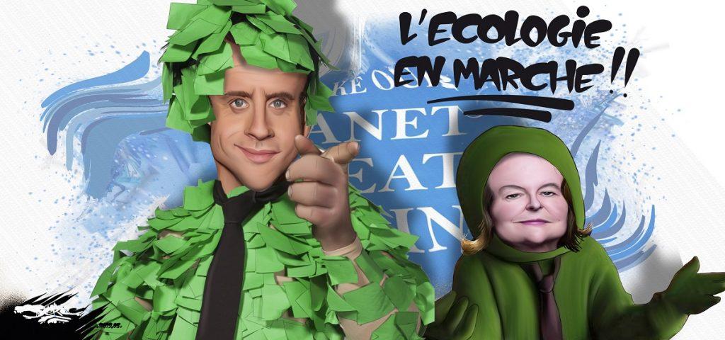 dessin d'actualité humoristique sur l'écologie vue par LREM et Renaissance