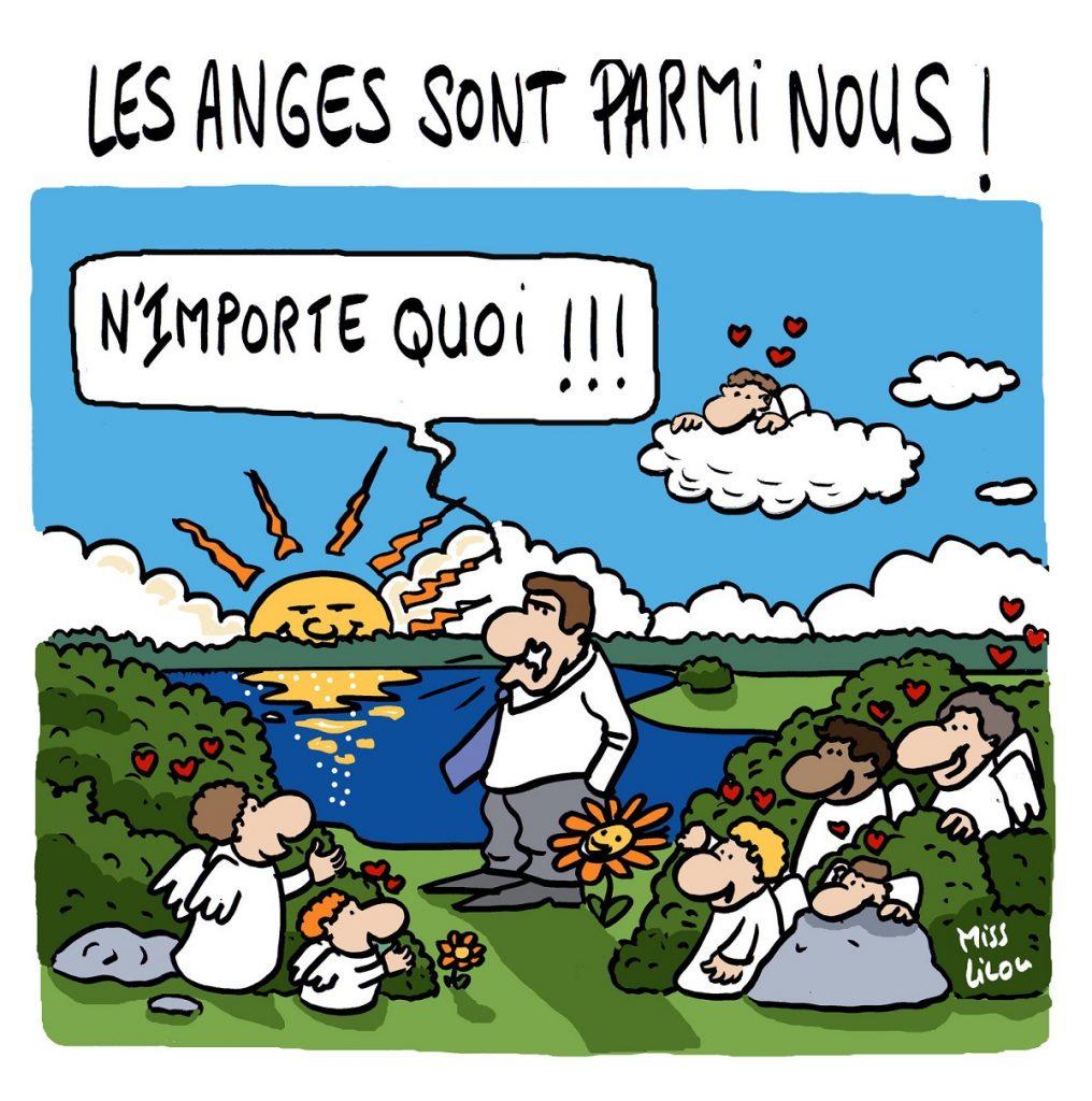 dessin d'actualité humoristique sur la présence des anges parmi nous