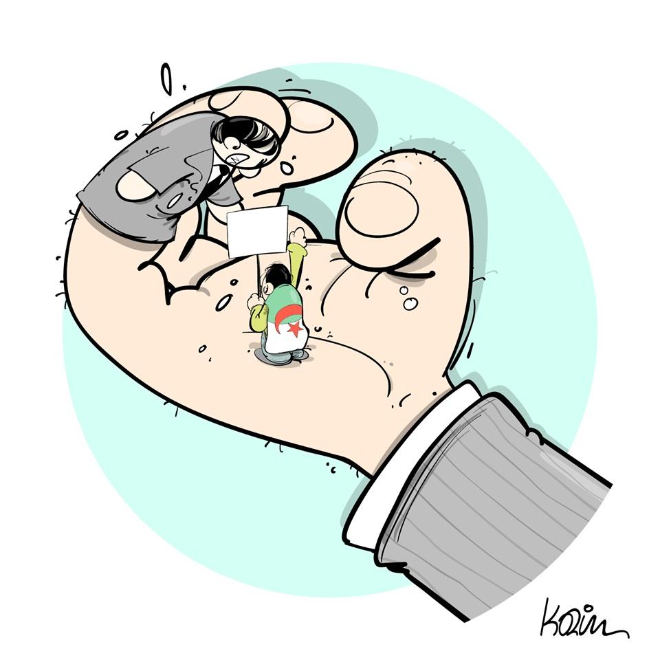 dessin d'actualité humoristique sur le pouvoir en Algérie face au mouvement populaire