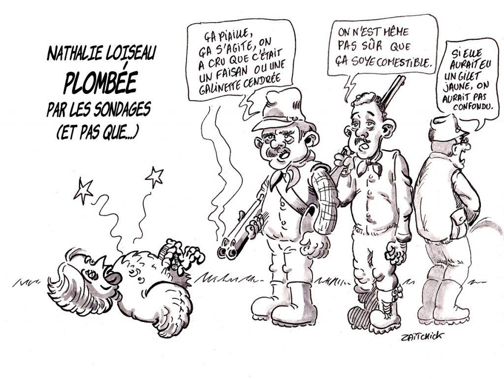 dessin d'actualité humoristique sur les mauvais sondages de la liste Renaissance de Nathalie Loiseau