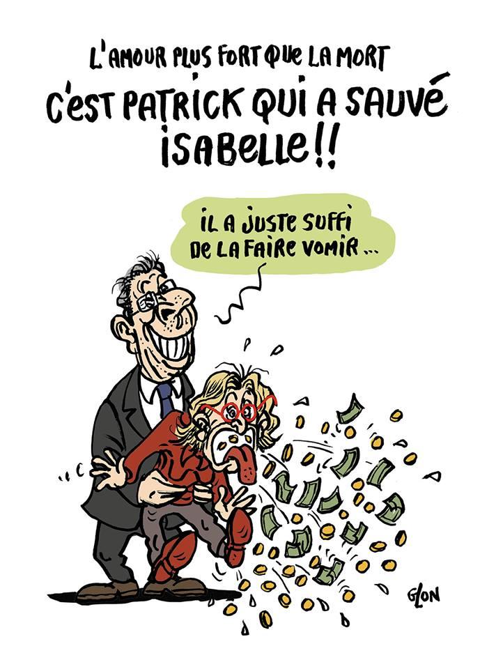 dessin d'actualité humoristique sur la tentative de suicide d'Isabelle Balkany en plain procès de l'affaire Balkany