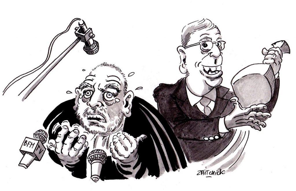 dessin d'actualité humoristique sur le procès Balkany et sa défense par Maître Éric Dupond-Moretti