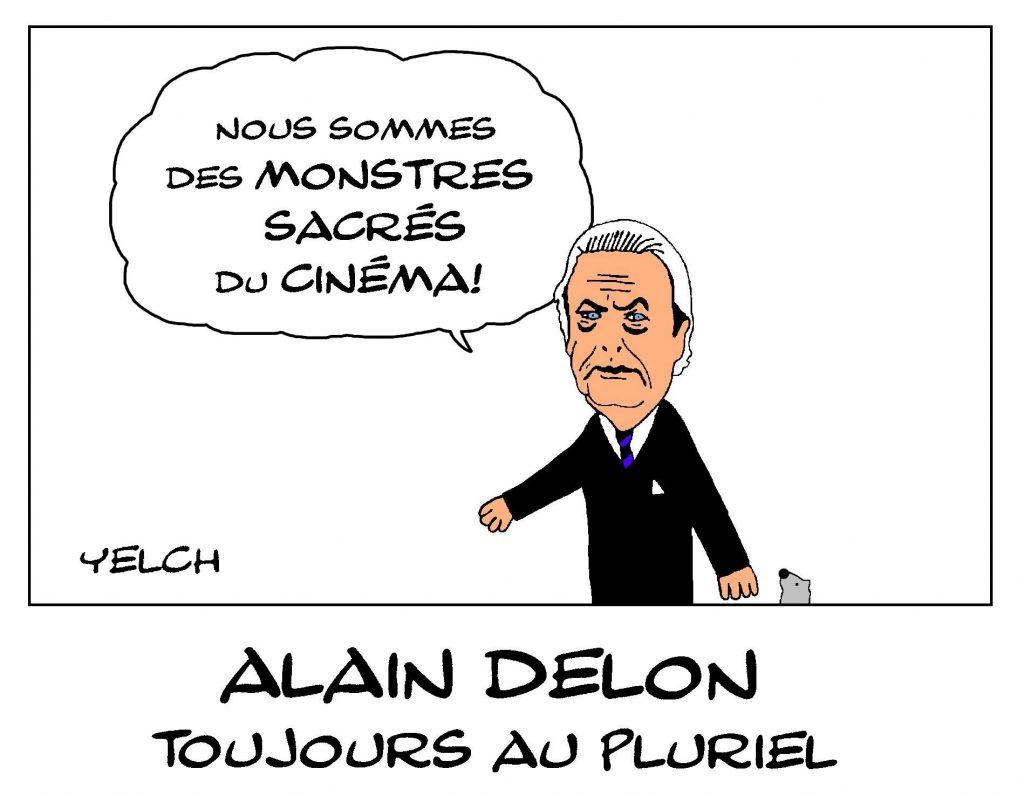 dessin de Yelch sur Alain Delon au festival de Cannes