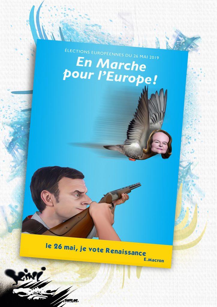 dessin d'actualité humoristique sur la campagne électorale de Nathalie Loiseau et par Emmanuel Macron pour la liste Renaissance