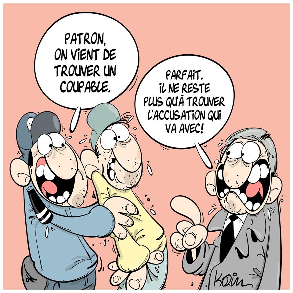 dessin d'actualité humoristique sur le fonctionnement de la police