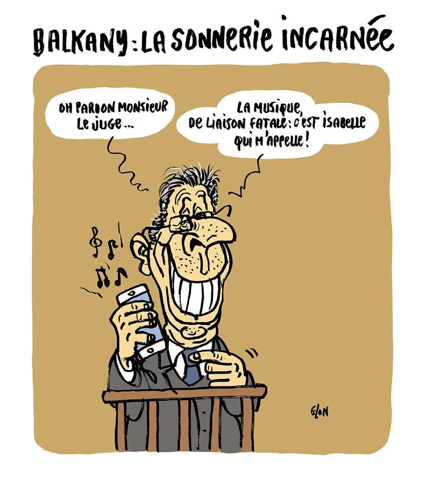 dessin d'actualité humoristique sur la sonnerie de téléphone de Patrick Balkany en plein milieu de l'audience