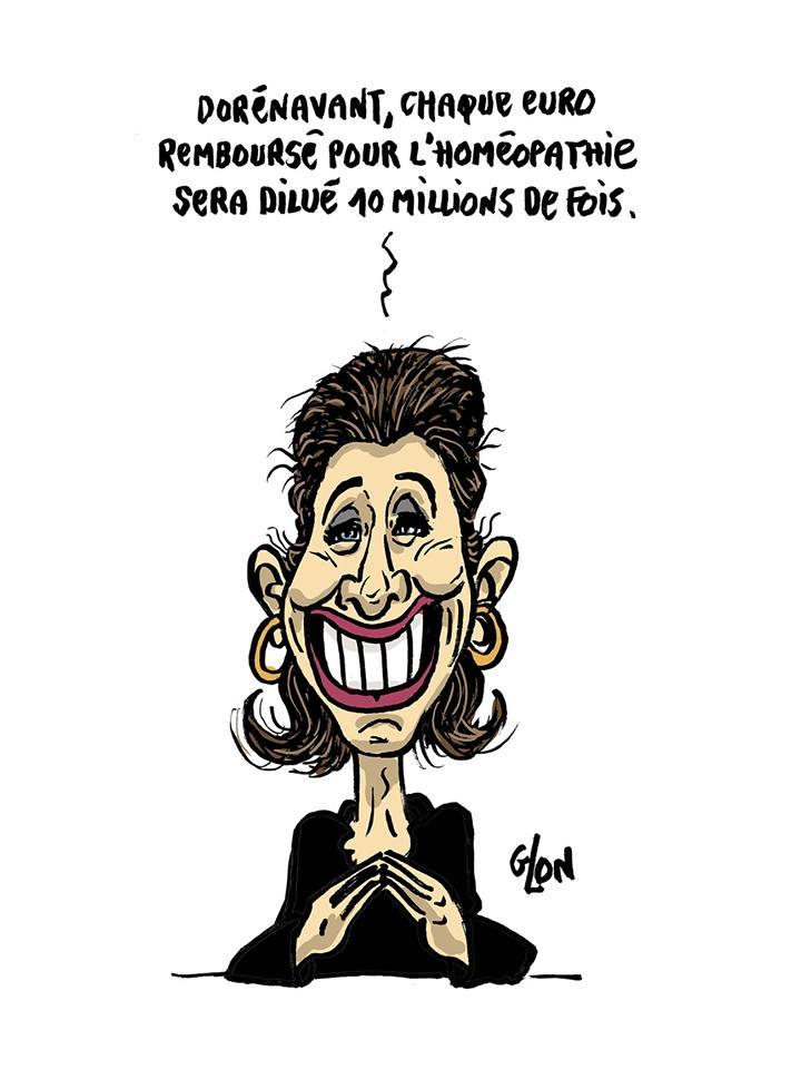 dessin d'actualité humoristique sur l'éventuel déremboursement de l'homéopathie
