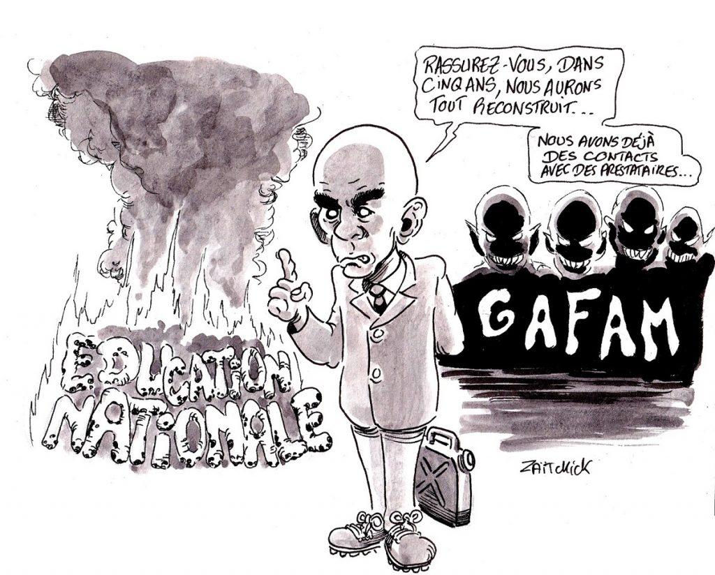 dessin d'actualité humoristique sur la réforme de l'Éducation Nationale de Jean-Michel Blanquer