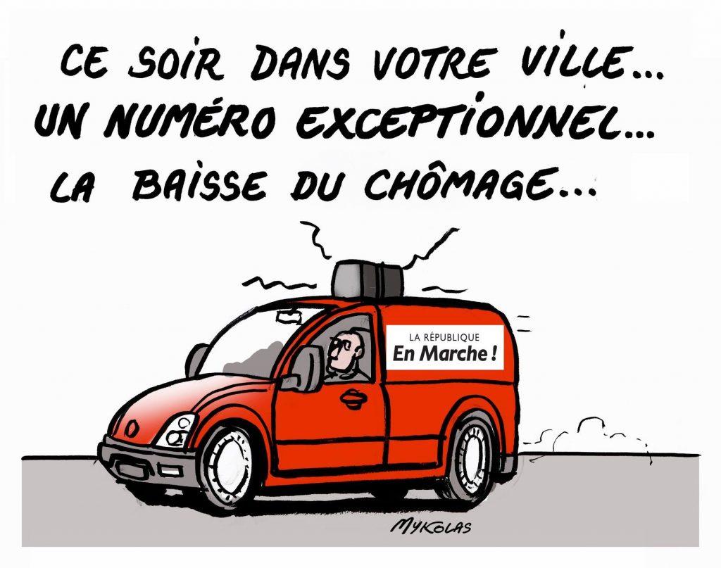 dessin d'actualité humoristique sur la baisse du chômage juste avant les élections européennes