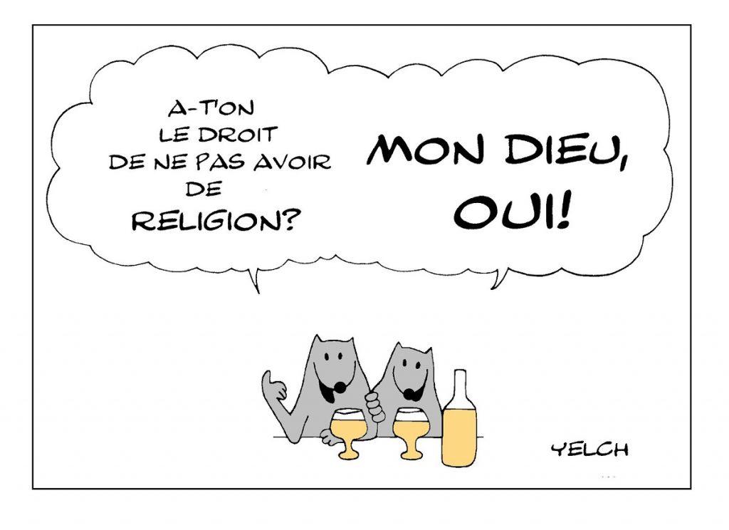 dessin de Yelch sur les religions et l'athéisme