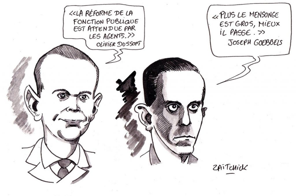 dessin d'actualité humoristique sur les déclarations d'Olivier Dussopt