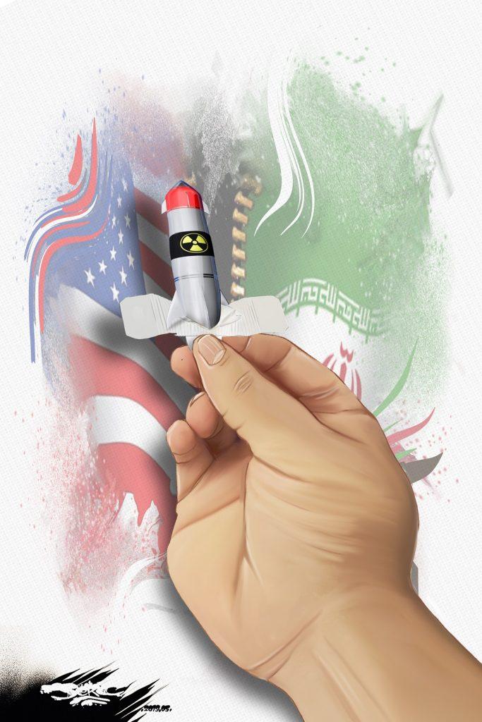 dessin d'actualité humoristique sur les tensions entre l'Iran et les États-Unis