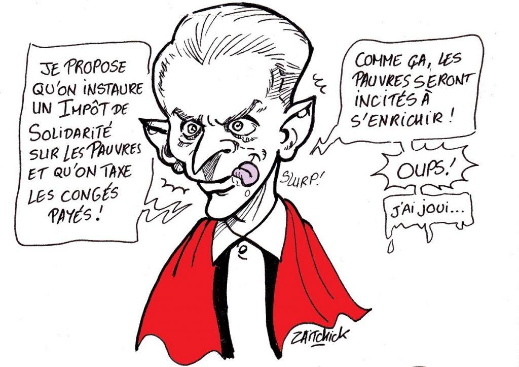 dessin d'actualité humoristique sur les avis de Christophe Barbier