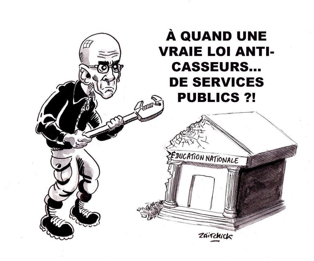 dessin d'actualité humoristique sur la casse des service publics et la loi Blanquer