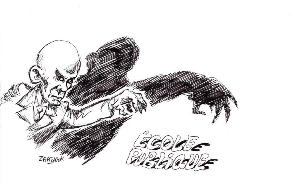 dessin d'actualité humoristique sur Jean-Michel Blanquer et l'école publique