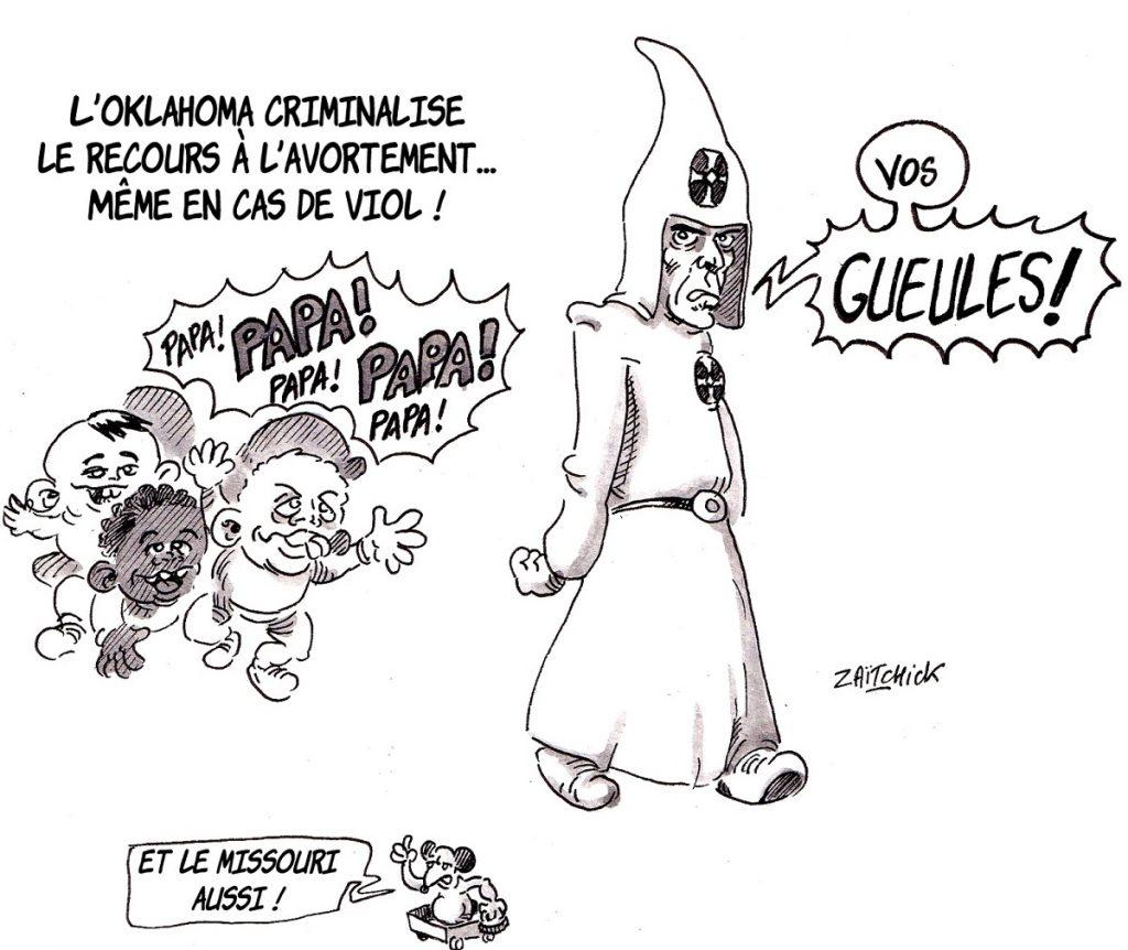 dessin d'actualité humoristique sur la criminalisation de l'avortement en Oklahoma