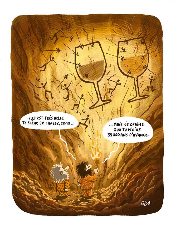 dessin d'actualité humoristique sur les hommes des cavernes, les scènes de chasse et la consommation d'alcool