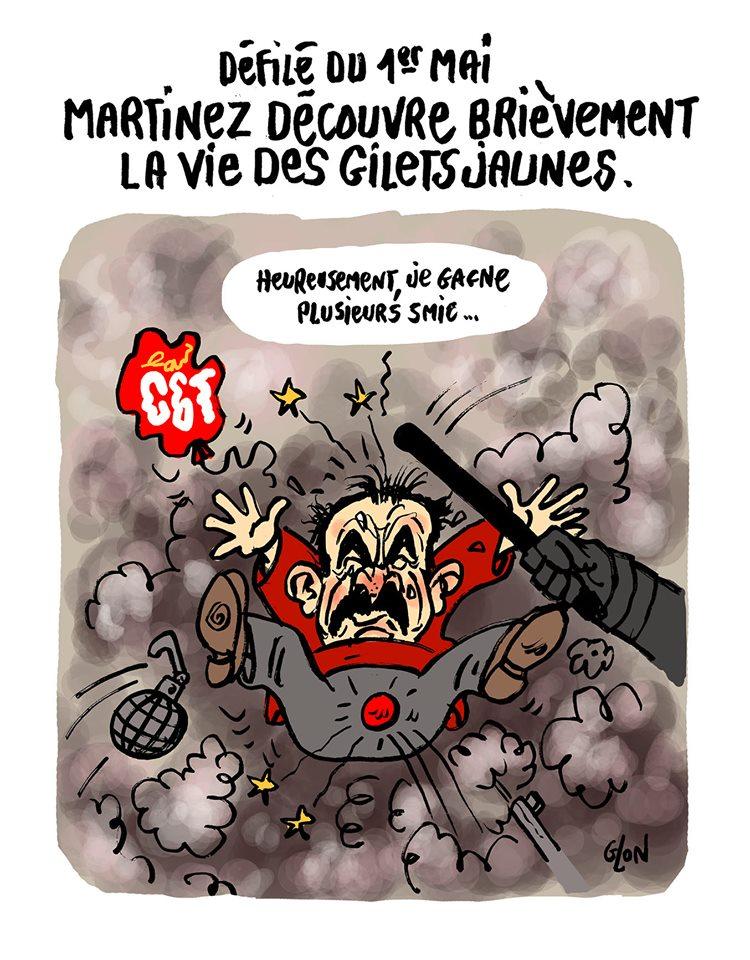 dessin d'actualité humoristique sur la participation de Philippe Martinez au défilé du 1er mai