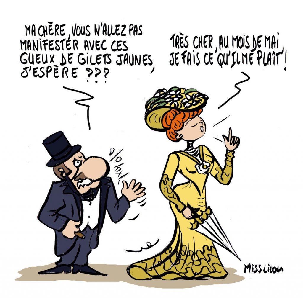 dessin d'actualité humoristique sur le 1er mai et le mouvement des gilets jaunes au temps de la Belle Époque