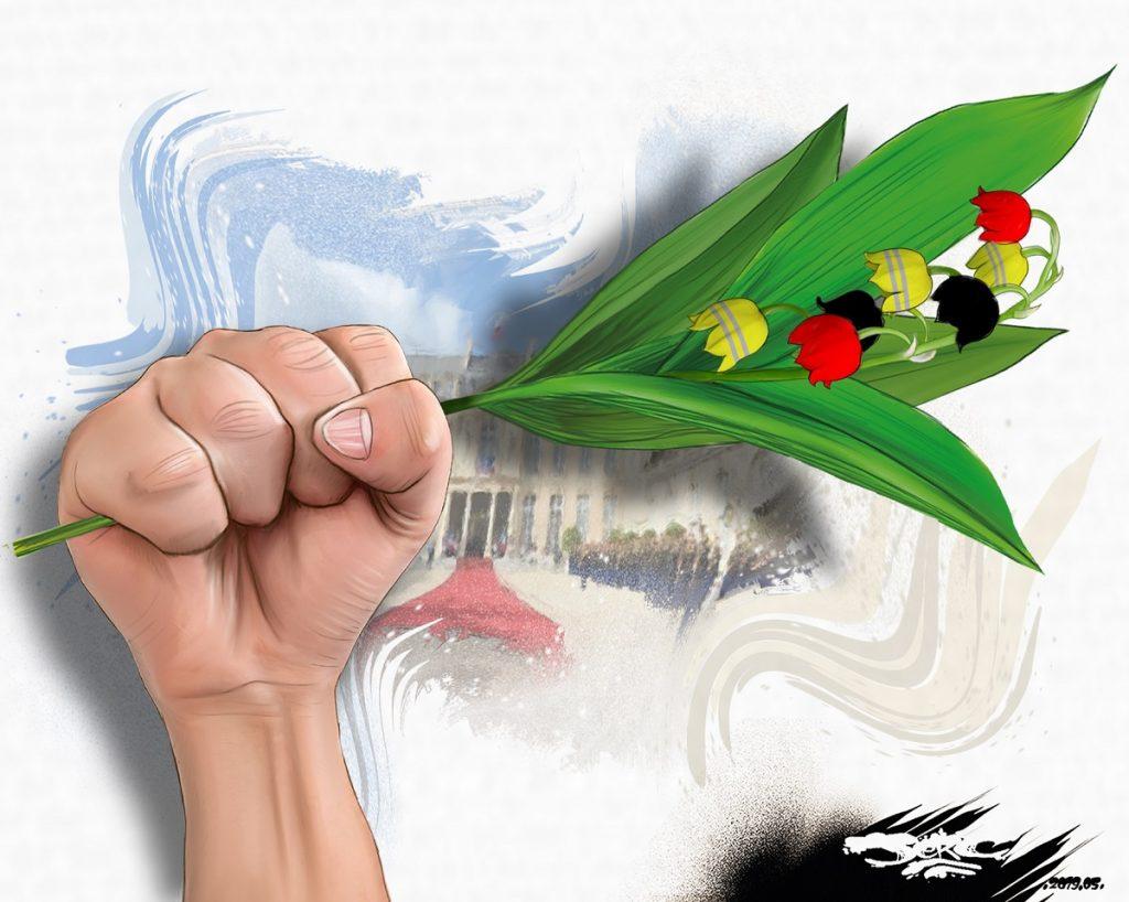 dessin d'actualité humoristique sur le muguet du premier mai et la fête des travailleurs