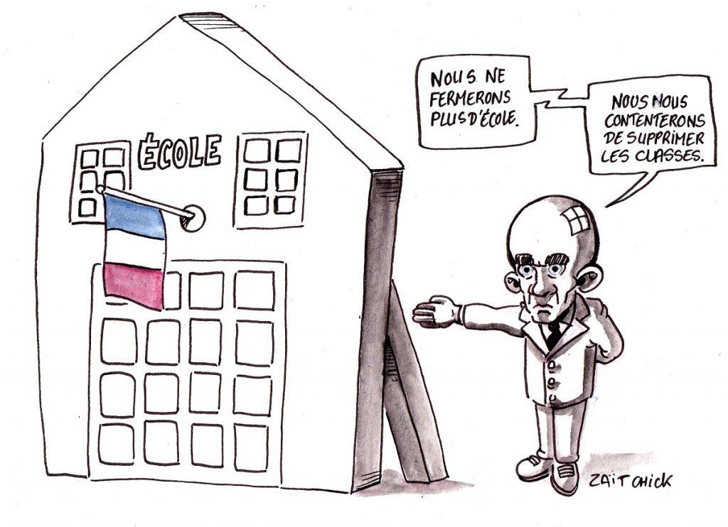 dessin d'actualité humoristique sur l'annonce de Jean-Michel Blanquer de ne plus fermer d'école, uniquement des classes…