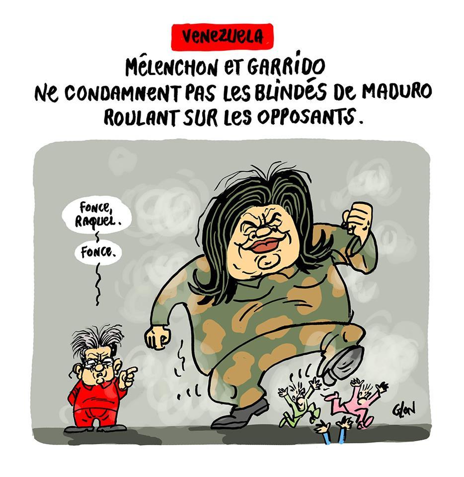 dessin d'actualité humoristique sur Raquel Garrido ironisant sur les blindés de Maduro roulant sur les opposants