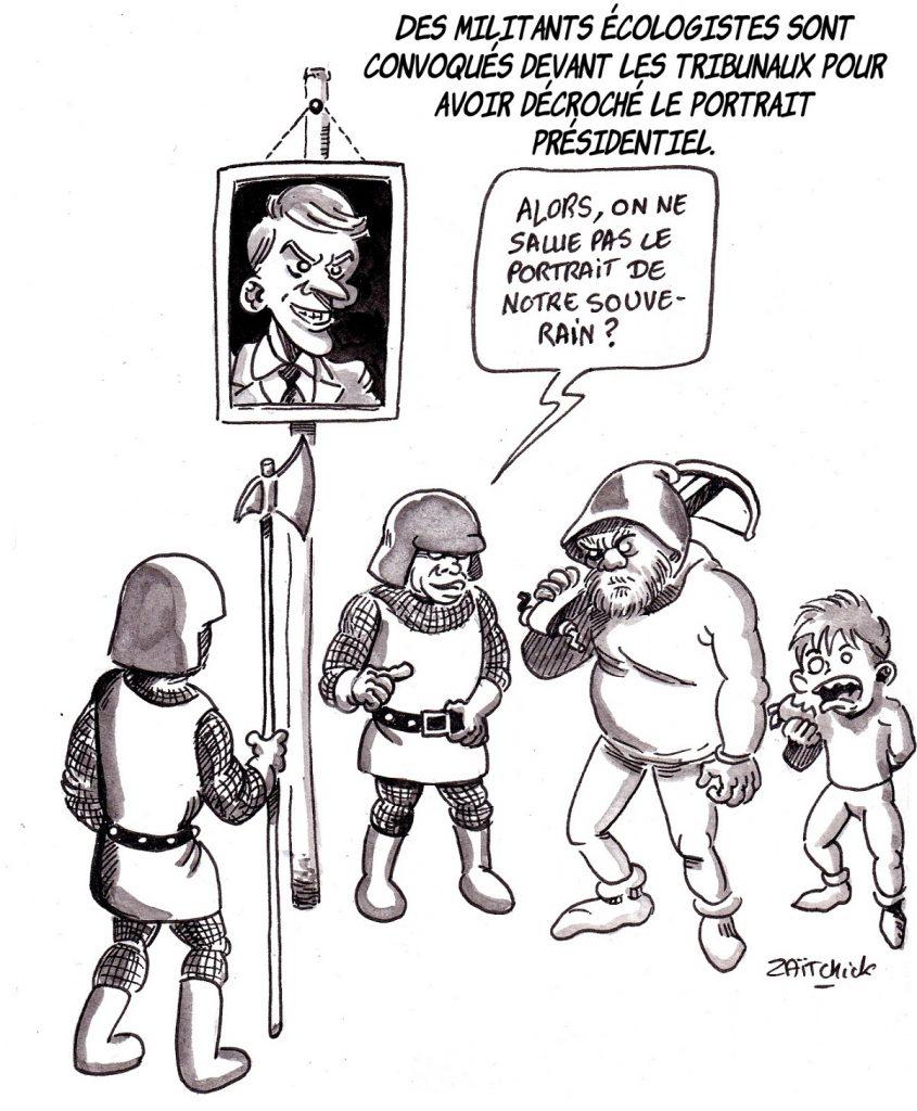 dessin d'actualité humoristique sur la convocation d'écologistes pour avoir décroché le portrait d'Emmanuel Macron