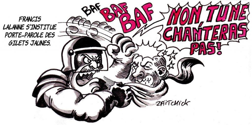 dessin d'actualité humoristique sur Francis Lalanne qui se pose en porte-parole des gilets jaunes