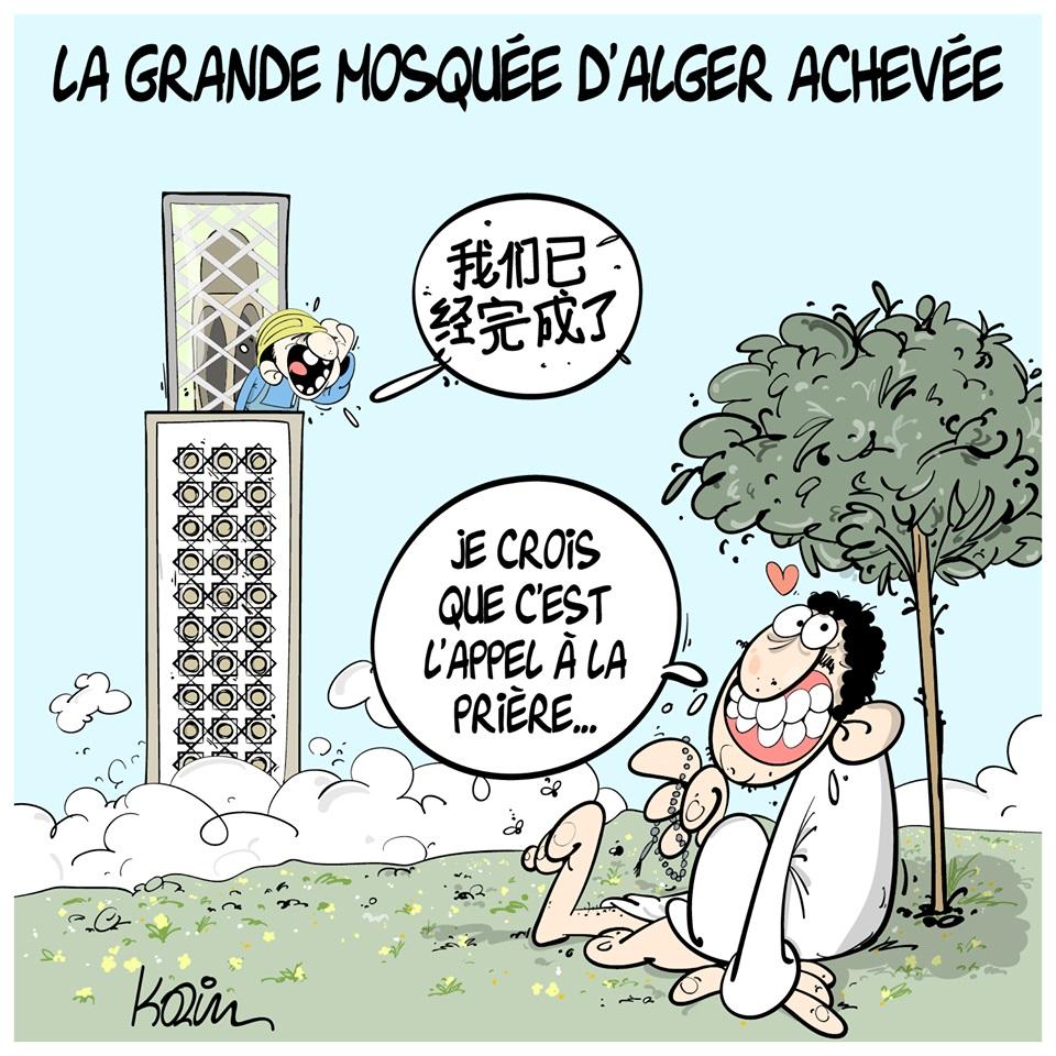 dessin d'actualité humoristique sur l'achèvement de la grande mosquée d'Alger