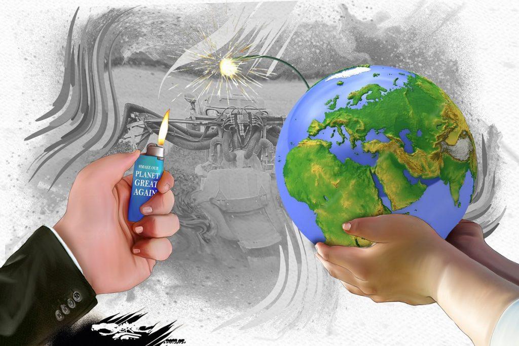 dessin d'actualité humoristique sur la Terre, planète en danger