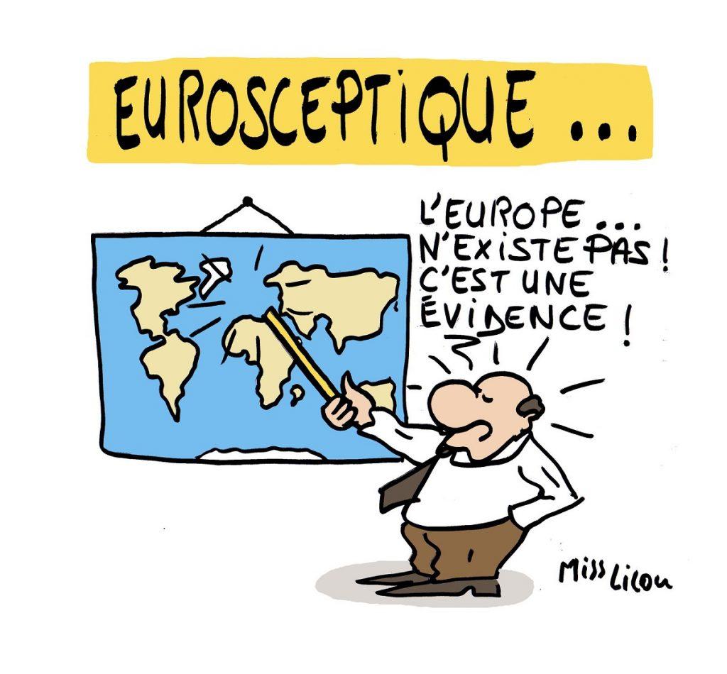 dessin d'actualité humoristique sur l'euroscepticisme