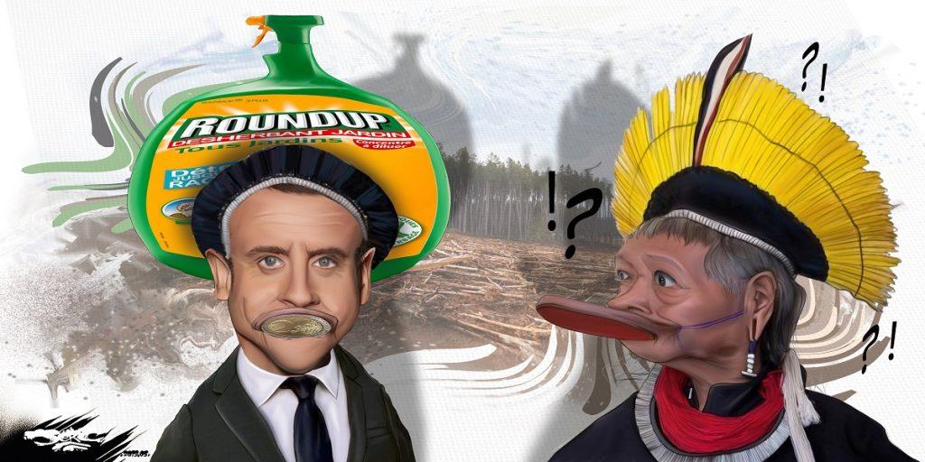 dessin d'actualité humoristique sur l'écologie selon Emmanuel Macron et le Chef Raoni