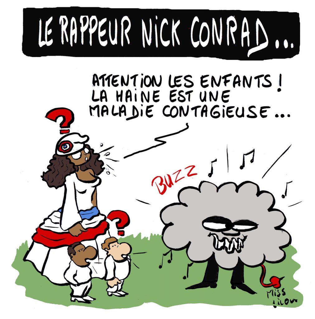 dessin d'actualité humoristique sur le rappeur Nick Conrad