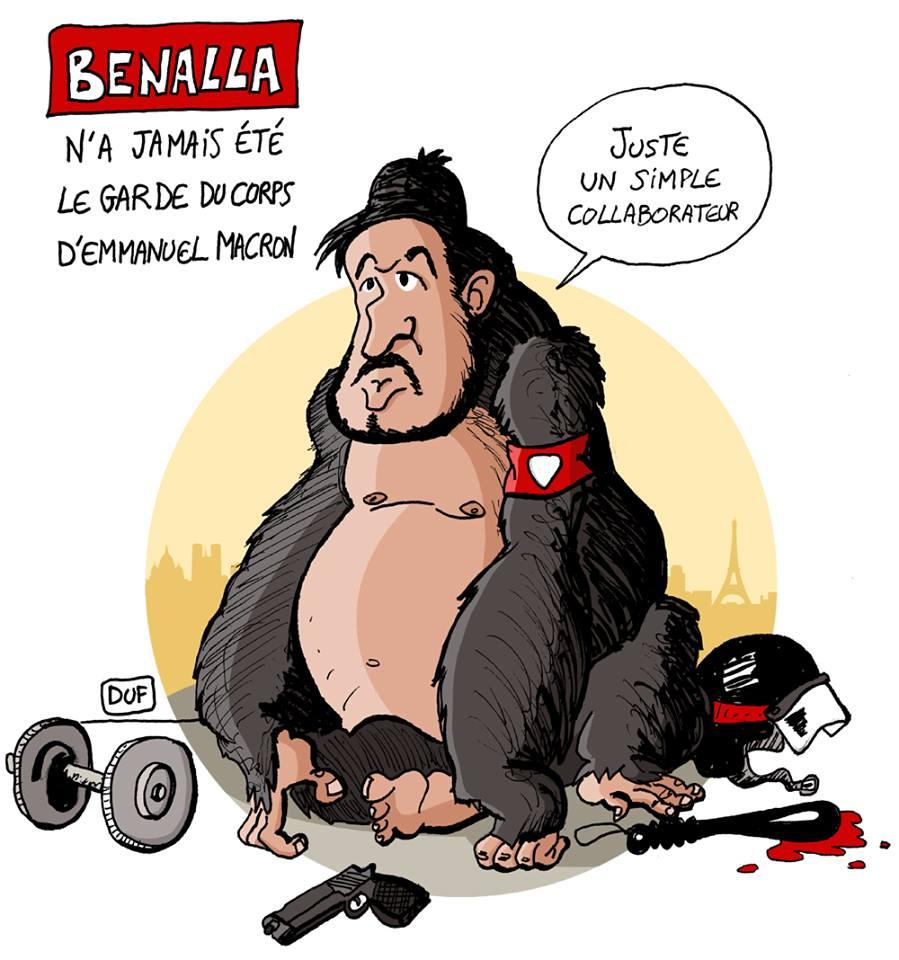 dessin d'actualité humoristique sur l'affaire Alexandre Benalla