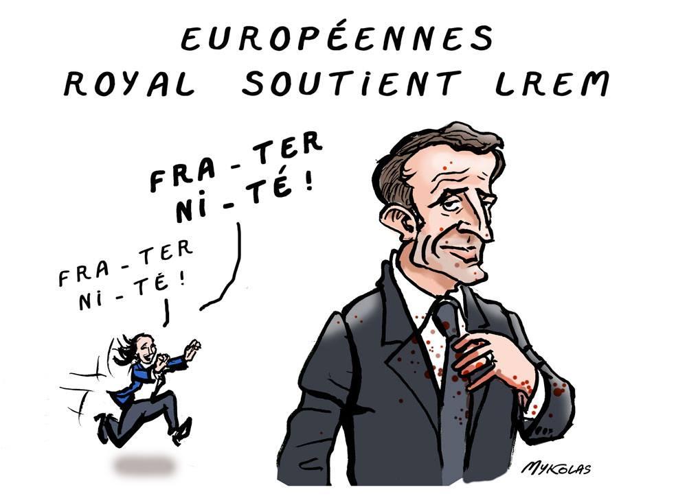 dessin d'actualité humoristique sur le soutien de Ségolène Royal à la liste LREM pour les élections européennes