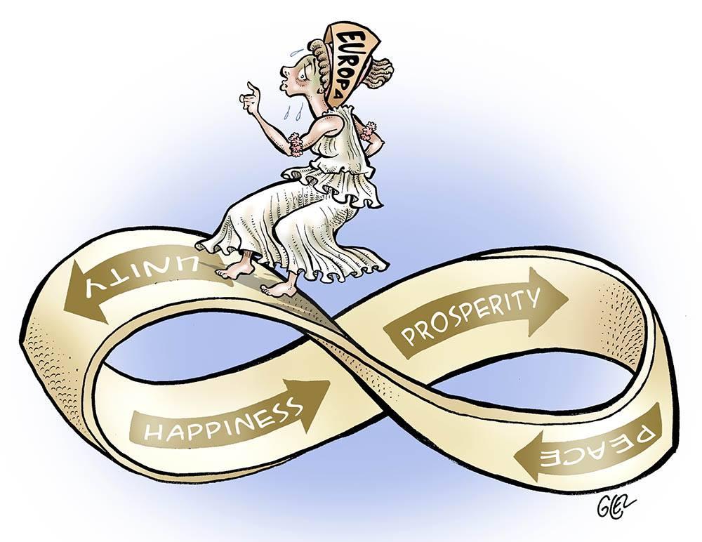 dessin humoristique sur la difficile marche de l'Europe