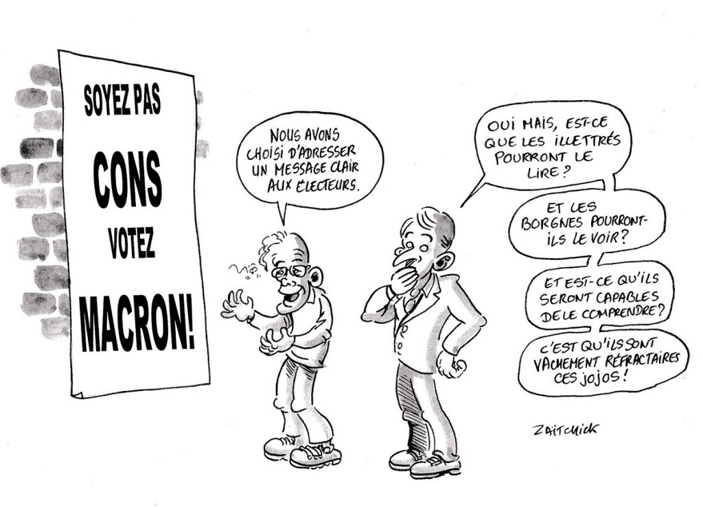 dessin d'actualité humoristique sur la propagande macronienne