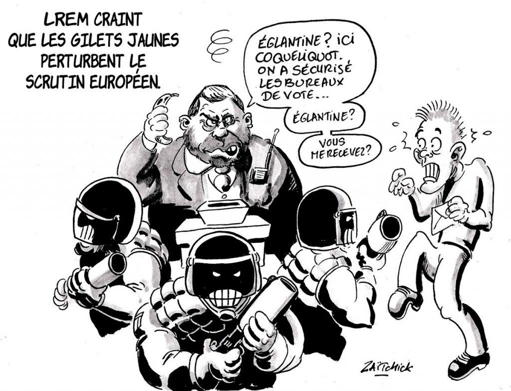 dessin d'actualité humoristique sur la crainte de LREM que les gilets jaunes perturbent le scrutin des européennes