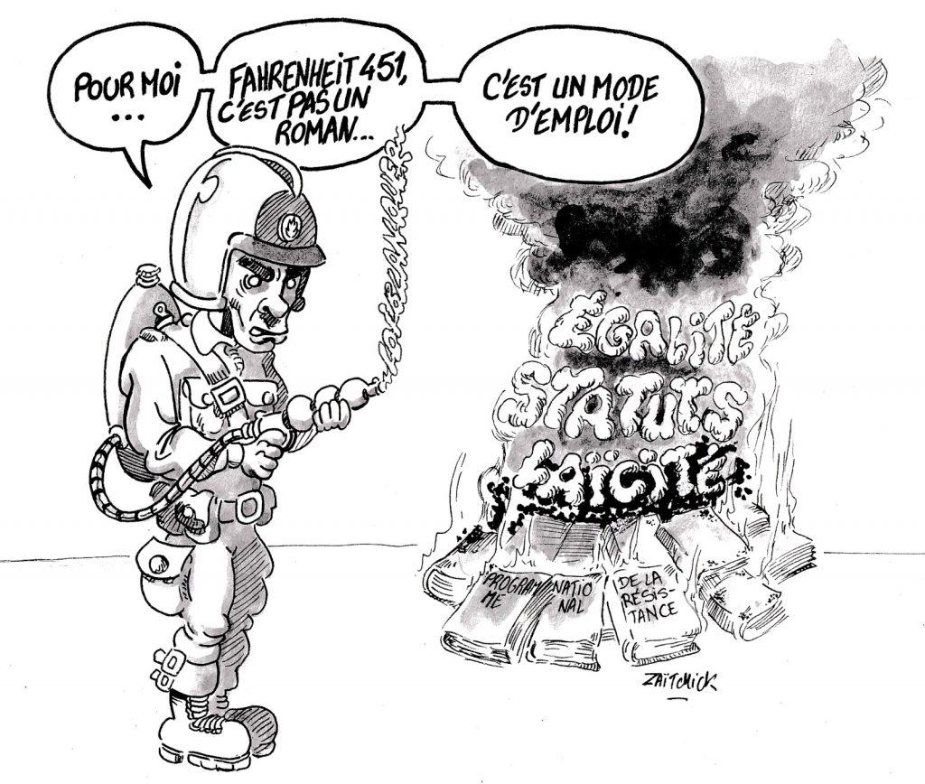 dessin humoristique sur Jean-Michel Blanquer pratiquant un autodafé des principes éducatifs