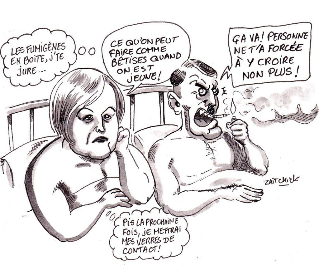 """dessin d'actualité humoristique sur """"l'erreur de jeunesse"""" de Nathalie Loiseau et ses liaisons avec l'extrême-droite"""