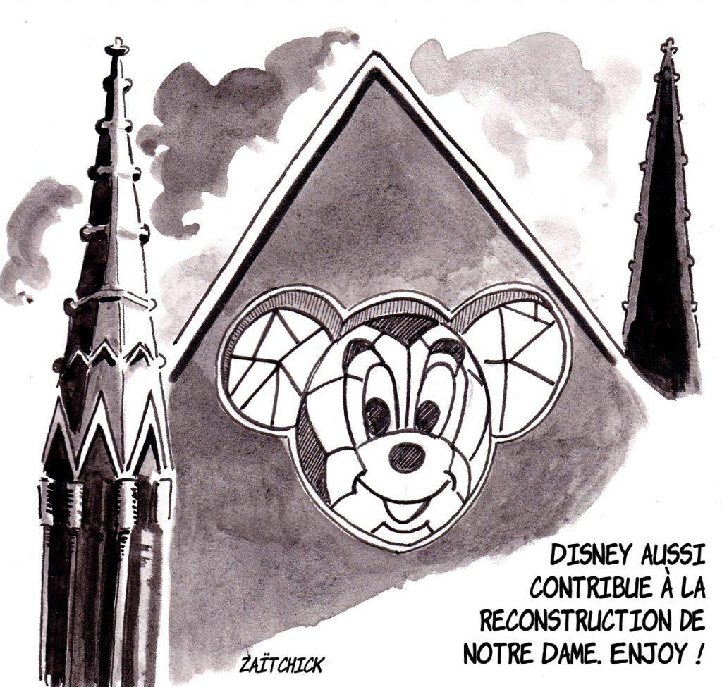 dessin d'actualité humoristique sur la participation de Disney à la reconstruction de Notre-Dame de Paris