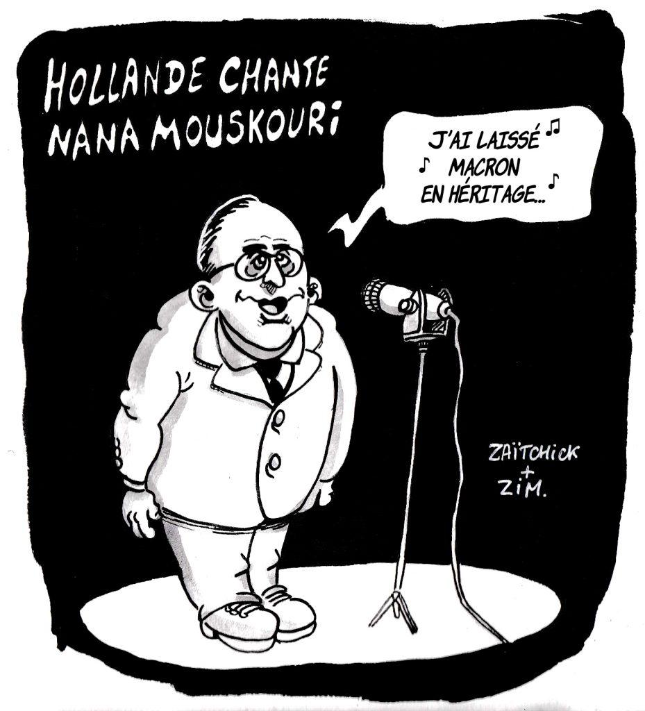 dessin humoristique sur François Hollande interprétant Nana Moukouri