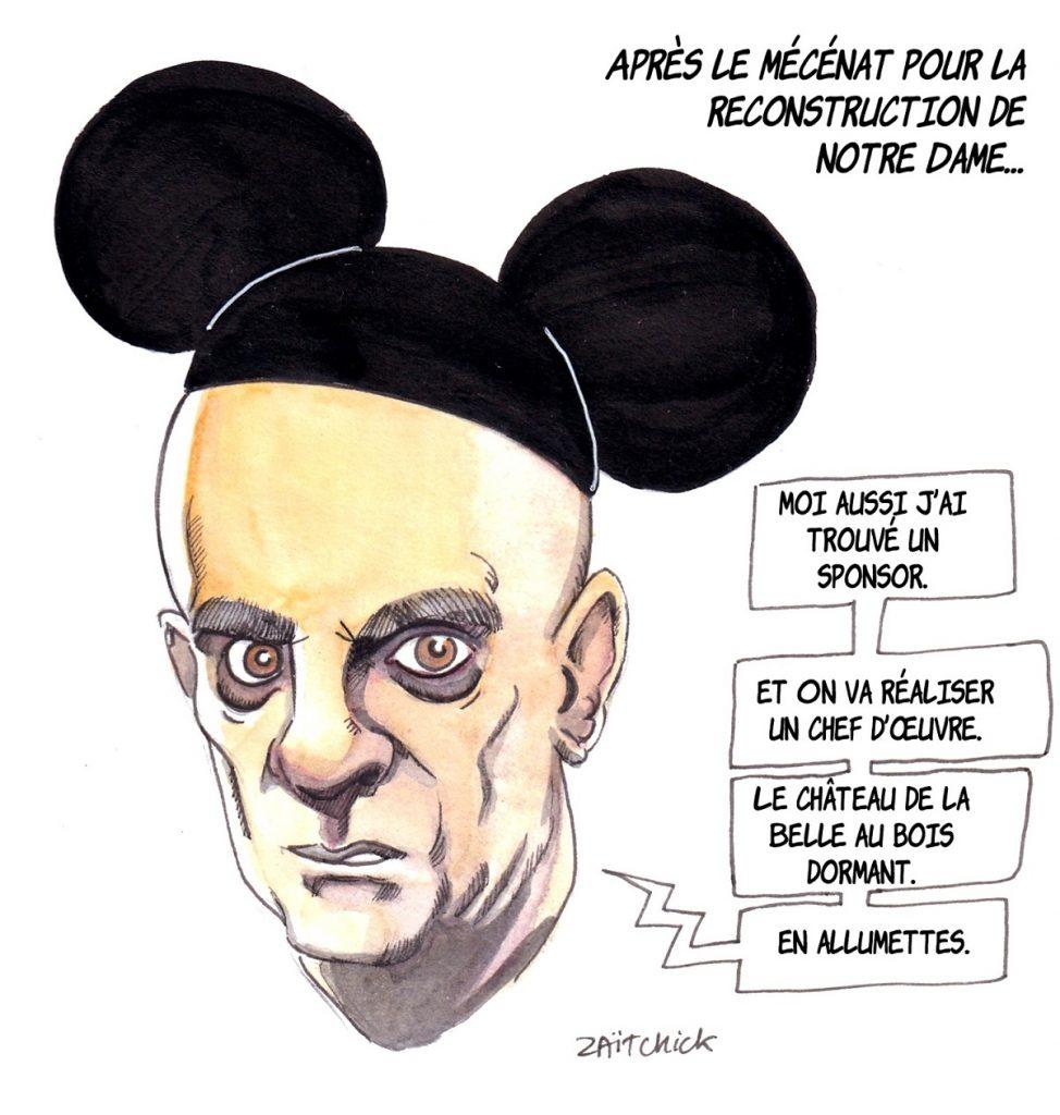 dessin d'actualité humoristique sur Jean-Michel Blanquer et sa proposition de partenariat avec Disney pour la reconstruction de Notre-Dame