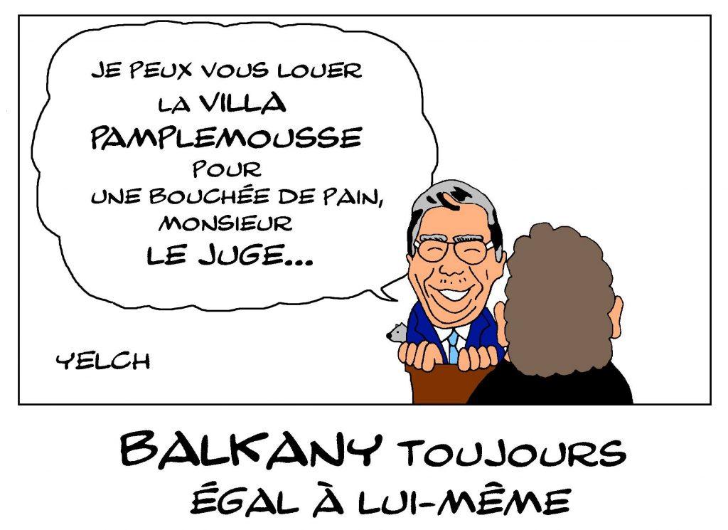 dessin de Yelch sur le procès de Patrick Balkany