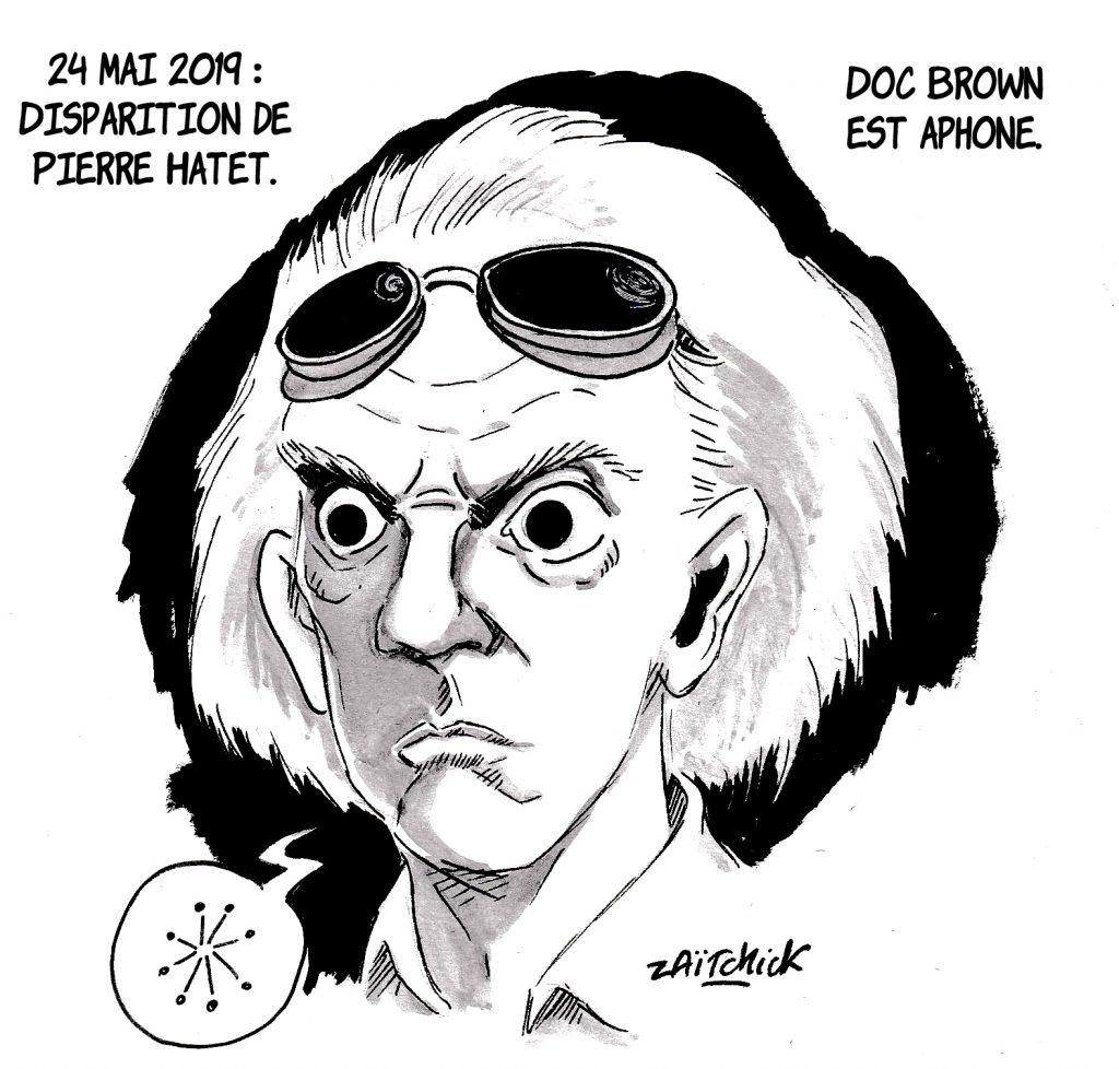 dessin d'actualité humoristique sur la disparition de Pierre Hatet, voix de Doc Brown dans Retour vers le futur